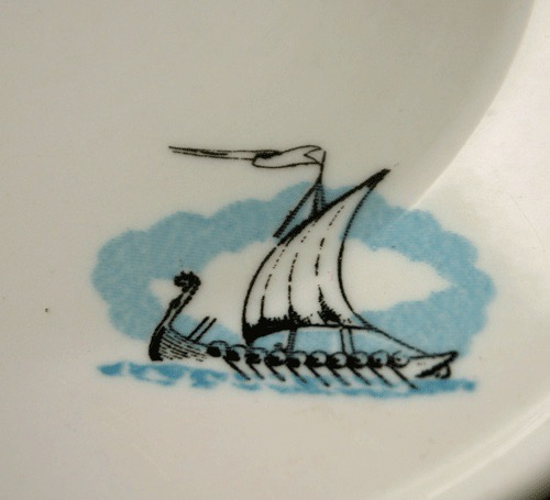 Viking Ship Pattern With Burgundy Rim Modern Sugar Bowlmissing Lid And Bread Butter Plate