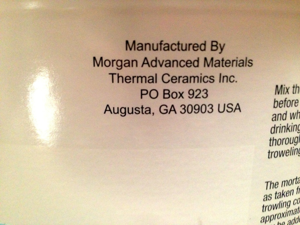 Morgan Thermal Ceramics Mortar Cement K Bond Wet 3000f Thermal Ceramic Fiber Firebrick