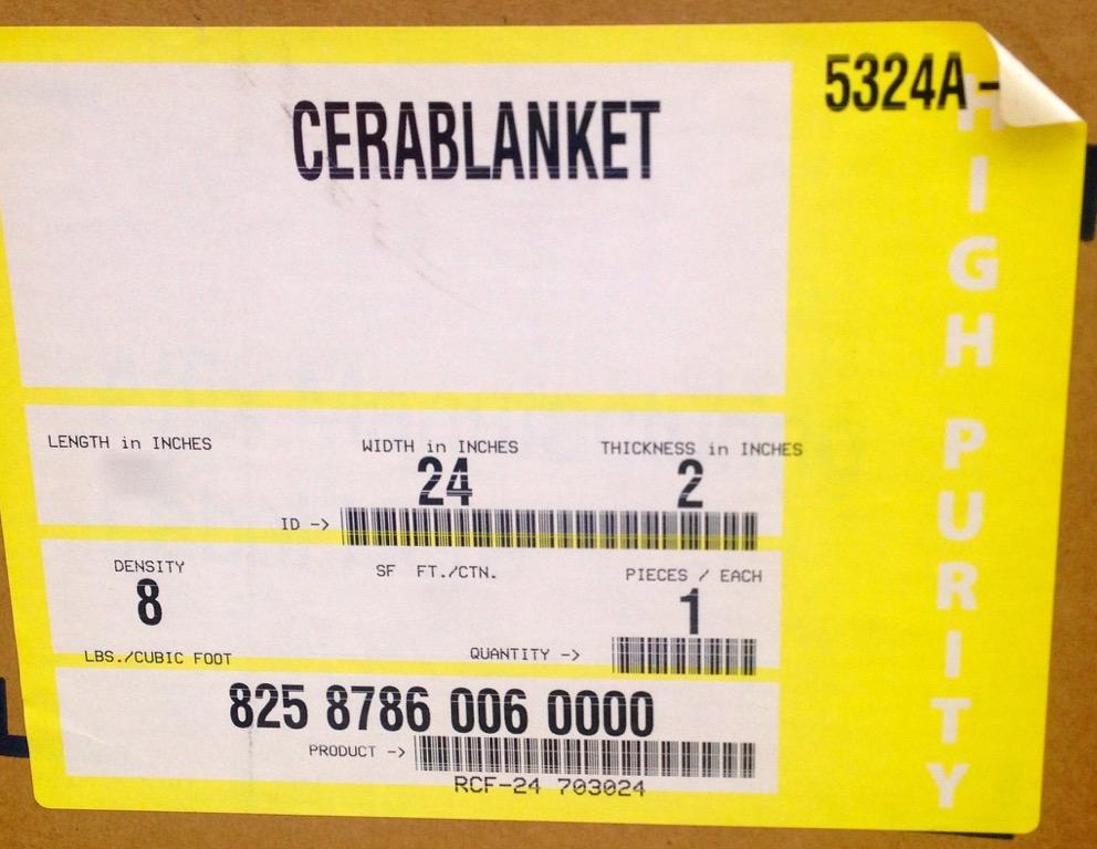"""CeraBlanket 2/""""x36/""""x24/"""" Ceramic Fiber Insulation Blanket 8# Thermal Ceramic 2400F"""
