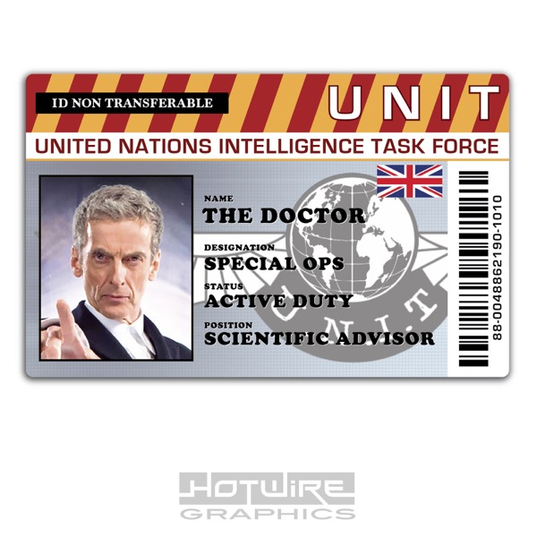 Plastic Id Card (Tv Series Prop) - Doctor Who Peter Capaldi, Unit