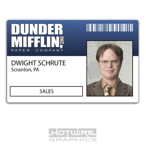 image relating to Dunder Mifflin Name Tag Printable called Information over Plastic Identification Card (Television set Motion picture Prop) - Dwight Schrute AMERICAN Workplace Dunder Income