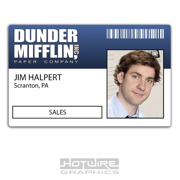 image about Dunder Mifflin Name Tag Printable named Facts pertaining to Plastic Identification Card (Television Motion picture Prop) - Jim Halpert AMERICAN Office environment Dunder Profits