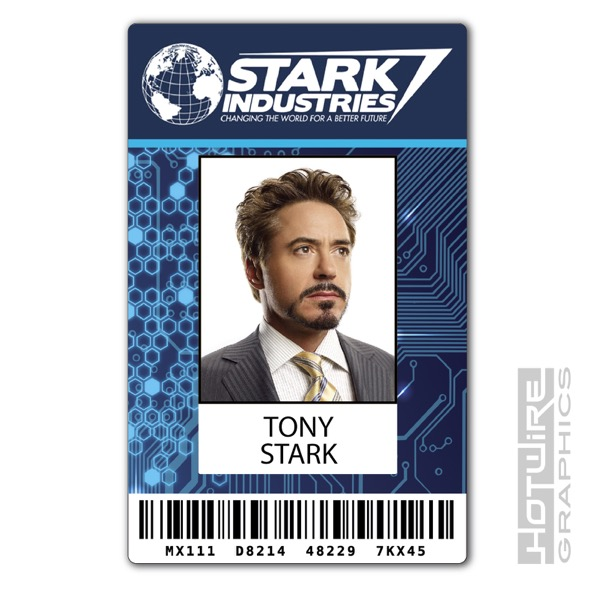 Plastic Id Card Tv  Film Prop  Tony Stark Iron Man Stark