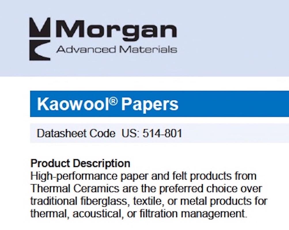 "Kaowool 1//16/"" x 6/"" x 24/"" Ceramic Fiber Paper 500 Grade Thermal Ceramics 2300F"