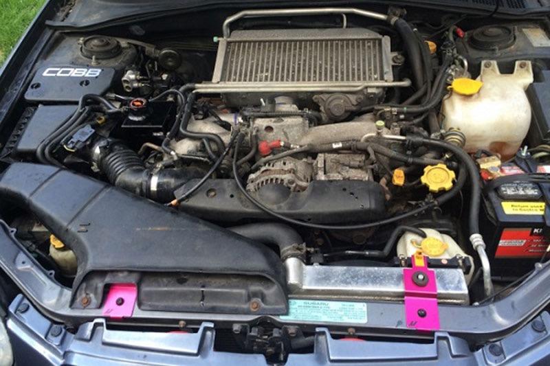 Mishimoto MMRS-SUBI-01ARD Anodized Red Radiator Stay Set for 01-07 Subaru WRX