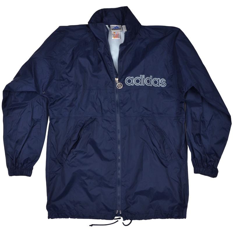 Details zu VINTAGE Adidas Regenjacke Rain Jacket Gr 176 XL Marineblau Navy Trefoil 90s Retr